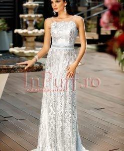 Rochie lunga de seara cu spatele gol din dantela argintie - ROCHII -