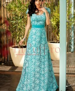 Rochie lunga de seara cu spatele gol din dantela turquoise - ROCHII -