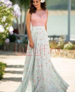 Rochie lunga de seara din voal belu si dantela roz - ROCHII de SEARA -