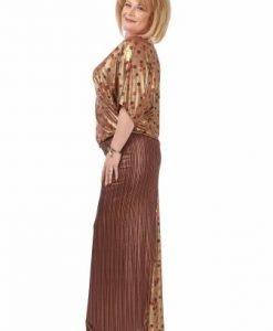 Rochie lunga eleganta auriu-grena R082-A-G - Rochii de seara -
