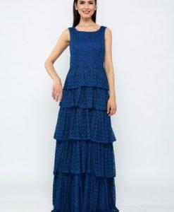 Rochie lunga eleganta din tesatura dantelata CR0012PB albastru - Rochii de seara -