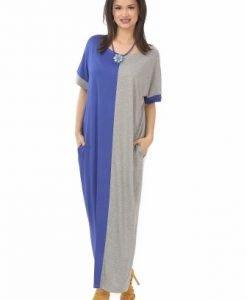 Rochie lunga gri-albastru R108-A-M - Marimi mari -