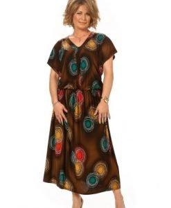 Rochie lunga maro cu imprimeu RO54-N - Marimi mari -