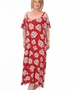 Rochie lunga rosie cu imprimeu floral R022-R-M - Marimi mari -