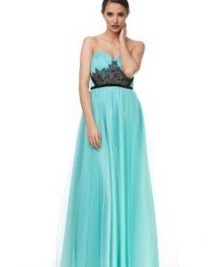 Rochie lunga turquoise de seara din tull JLTTDALIA - Rochii de ocazie -