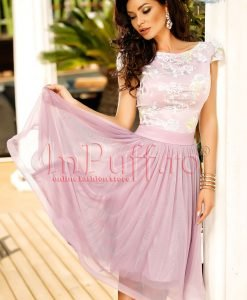 Rochie midi de seara lila din dantela si tul - ROCHII -