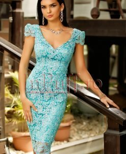 Rochie midi din dantela turquoise si spatele gol - ROCHII -