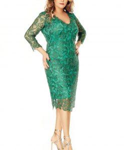 Rochie midi din dantela verde - ROCHII de SEARA -