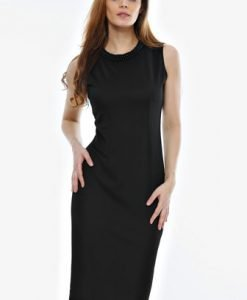Rochie neagra cu aplicatie de perle si dantela RO47 - Rochii de seara -