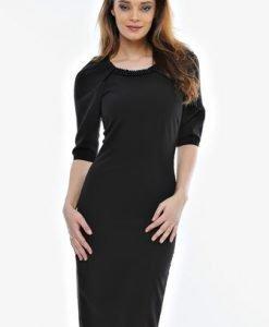 Rochie neagra cu aplicatie perle RO22 - Rochii de seara -