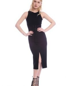 Rochie neagra cu centura corset AM-21704118 - Rochii de seara -
