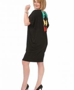 Rochie neagra cu funde colorate R120S-M - Marimi mari -