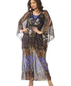 Rochie neagra vaporoasa cu maneca stil fluture R093-NM - Marimi mari -