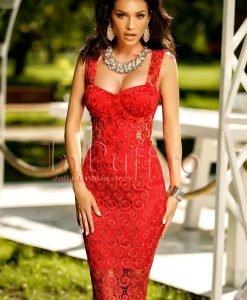 Rochie rosie cu dantela treisferturi - ROCHII -