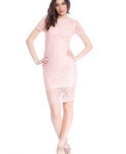 Rochie roz cu maneca scurta din dantela AM-21702177 - Rochii de seara -