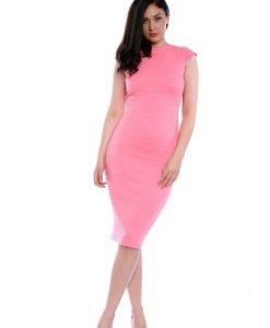 Rochie roz de seara cu maneca scurta AM-60121 - Rochii de seara -