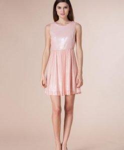 Rochie roz din paiete ASPATY - Rochii de seara -