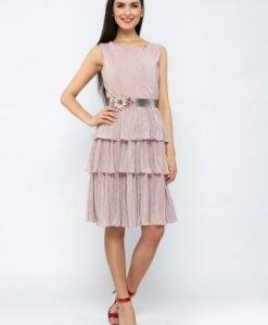 Rochie roz eleganta cu volane si pliuri CR001PN - Rochii de seara -