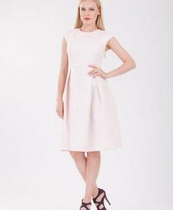 Rochie roze cu model buline D2113 - Rochii office -