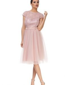 Rochie roze de ocazie din tulle JSPPLAURA - Rochii de seara -