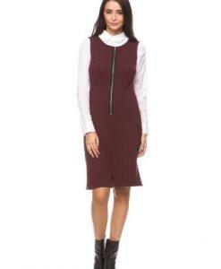 Rochie sarafan din tricot cu fermoar CI153 grena - Rochii office -