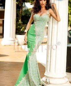 Rochie verde eleganta tip sirena cu dantela alba - ROCHII -