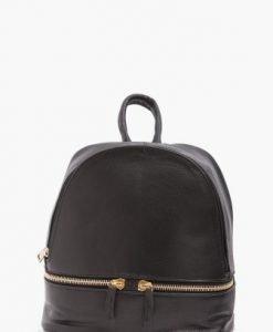 Rucsac negru din piele naturala accesorizat cu fermoare MK - Rucsacuri -