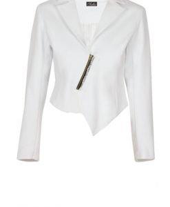 Sacou alb din bumbac cu fermoar model D1710 - Sacouri -