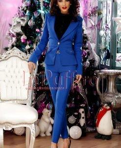 Sacou dama albastru cu nasturi aurii - SACOURI -