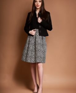 Sacou din stofa cu guler tunica ROVANA-N negru - Sacouri -