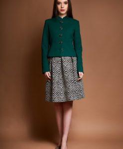 Sacou din stofa cu guler tunica ROVANA-V verde - Sacouri -