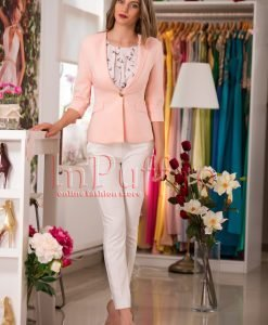 Sacou elegant roz cu maneca trei sferturi - SACOURI -