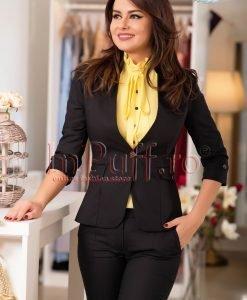 Sacou negru cu guler tunica - SACOURI -