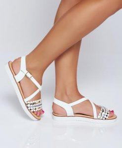 Sandale albe casual cu talpa joasa cu aplicatii cu sclipici - Sandale -