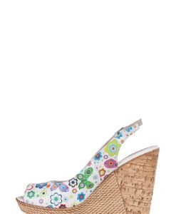 Sandale albe cu imprimeu floral din piele naturala 333 - Sandale -