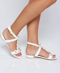 Sandale albe elegante cu aplicatii cu perle - Sandale -