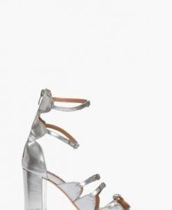 Sandale argintii cu barete din piele naturala CB079 - Sandale -