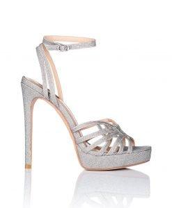 Sandale argintii cu toc si barete subtiri Argintiu - Incaltaminte - Incaltaminte / Sandale