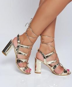 Sandale aurii elegante cu toc patrat cu aspect metalic - Sandale -