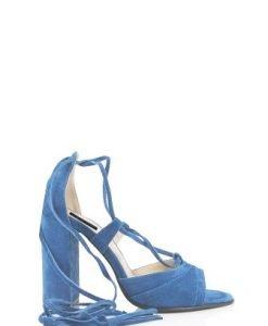 Sandale bleu cu siret din piele intoarsa Y34 - Sandale -