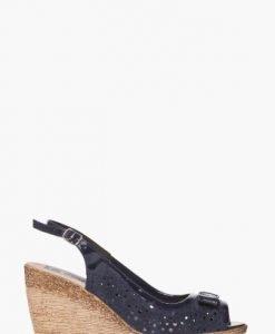 Sandale bleumarin cu perforatii din piele intoarsa naturala 1727 - Sandale -