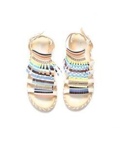 Sandale casual cu franjuri albe cu barete subtiri - Sandale -