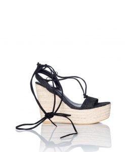 Sandale cu siret si platforma din panza Negru - Incaltaminte - Incaltaminte / Sandale