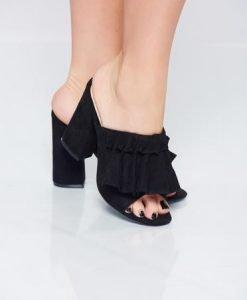 Sandale cu toc inalt negre cu toc patrat - Sandale -