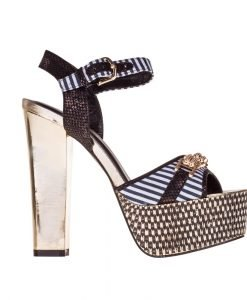 Sandale dama cu platforma Camelia negre - Incaltaminte Dama - Sandale Dama