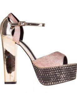 Sandale dama cu platforma Ceria roz cu auriu - Incaltaminte Dama - Sandale Dama