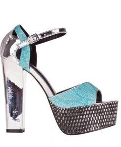 Sandale dama cu platforma Ceria turcoaz cu argintiu - Incaltaminte Dama - Sandale Dama