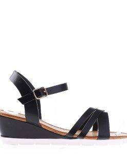 Sandale dama cu platforma Dixie negre - Incaltaminte Dama - Sandale Dama