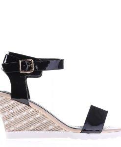 Sandale dama cu platforma Gena negre - Incaltaminte Dama - Sandale Dama