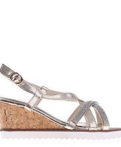 Sandale dama cu platforma K55 aurii - Incaltaminte Dama - Sandale Dama